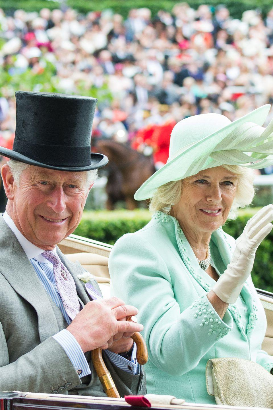 <p>Arriving in a carriage to the first day of the Royal Ascot at Ascot Racecourse. </p>