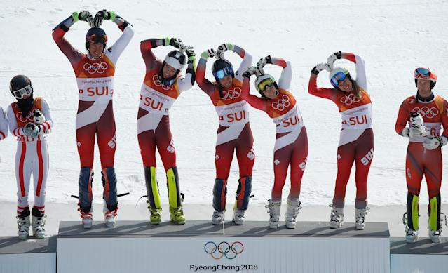Alpine Skiing - Pyeongchang 2018 Winter Olympics - Team Event - Yongpyong Alpine Centre - Pyeongchang, South Korea - February 24, 2018 - Gold medallist Switzerland's team celebrates on the podium during the victory ceremony. REUTERS/Mike Segar TPX IMAGES OF THE DAY