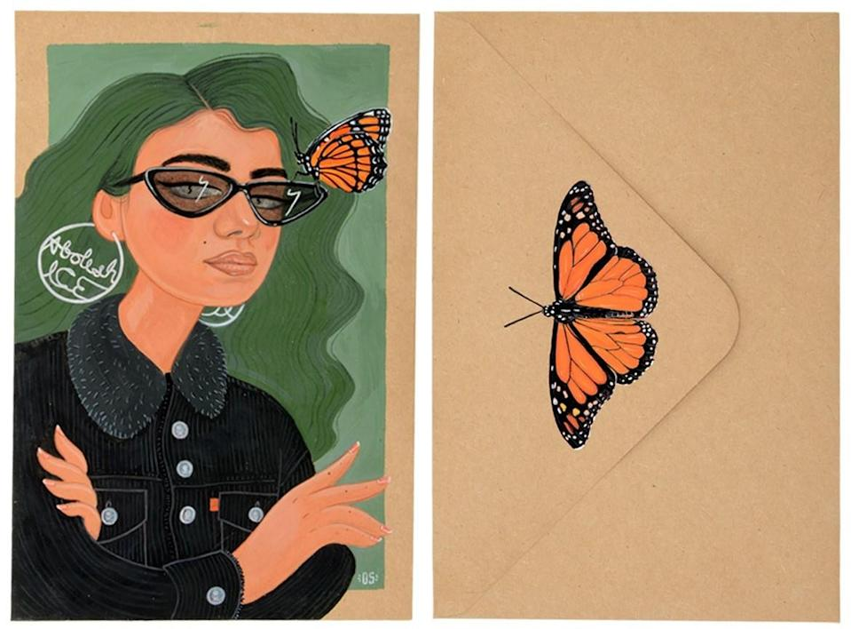 """Diana L. Sánchez's """"Abolish ICE II,"""" with a monarch butterfly perched on a woman wearing """"abolish ICE"""" earrings."""