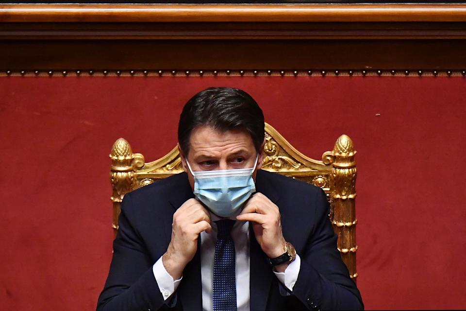 ROME, ITALY - JANUARY 19: Italian Prime Minister Giuseppe Conte attends the communications on the current political situation at the Italian Senate before the confidence vote, on January 19, 2021 in Rome, Italy. Following the resignation of two ministers in Conte's coalition government over a dispute on spending of EU funds during the pandemic, the Italian government is on the verge of another crisis. (Photo by AM POOL/Alessandro Di Meo/Getty Images) (Photo: AM POOL via Getty Images)
