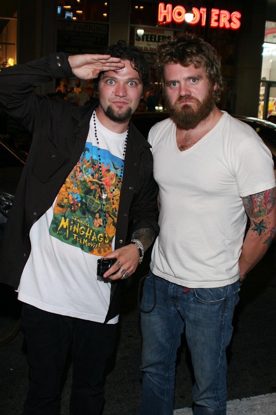 Bam Margera and Ryan Dunn attend Gumball 3000 10th Anniversary Party at The Roosevelt Hotel on August 9, 2008 in Hollywood, CA. (Photo by DAVID CROTTY/Patrick McMullan via Getty Images)