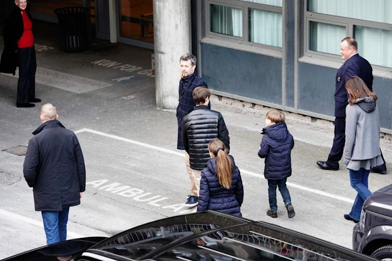 Princess Mary, Prince Frederik and their kids were pictured arriving at the hospital to bring him home. Photo: Getty Images