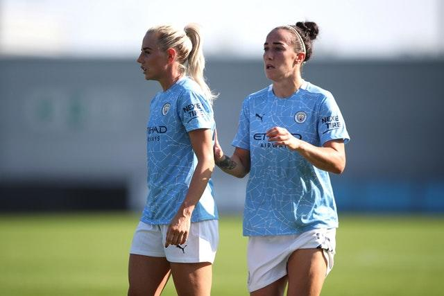 Manchester City pair Alex Greenwood, left, and Lucy Bronze have returned to the WSL from Lyon