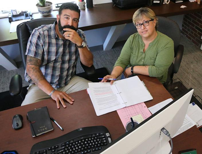 Dover Housing Authority Executive Director Ryan Crosby and Cathy Gallagher, Housing Choice Voucher specialist for DHA, seen on Tuesday, Sept. 14, 2021, say it's difficult recruiting and retaining landlords to accept the vouchers from low-income residents.
