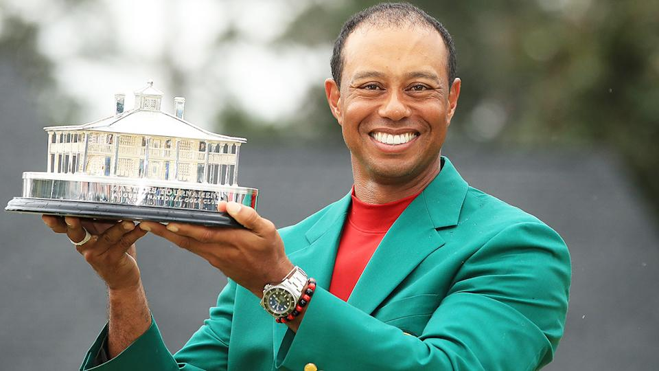 Tiger Woods, pictured here celebrating after winning the Masters in 2019.
