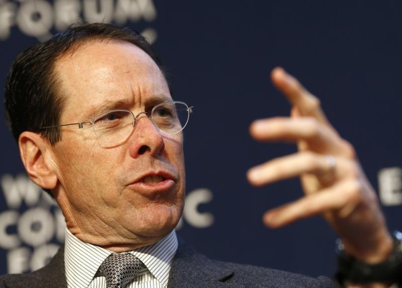 Stephenson Chairman and CEO of AT&T speaks during session at World Economic Forum in Davos