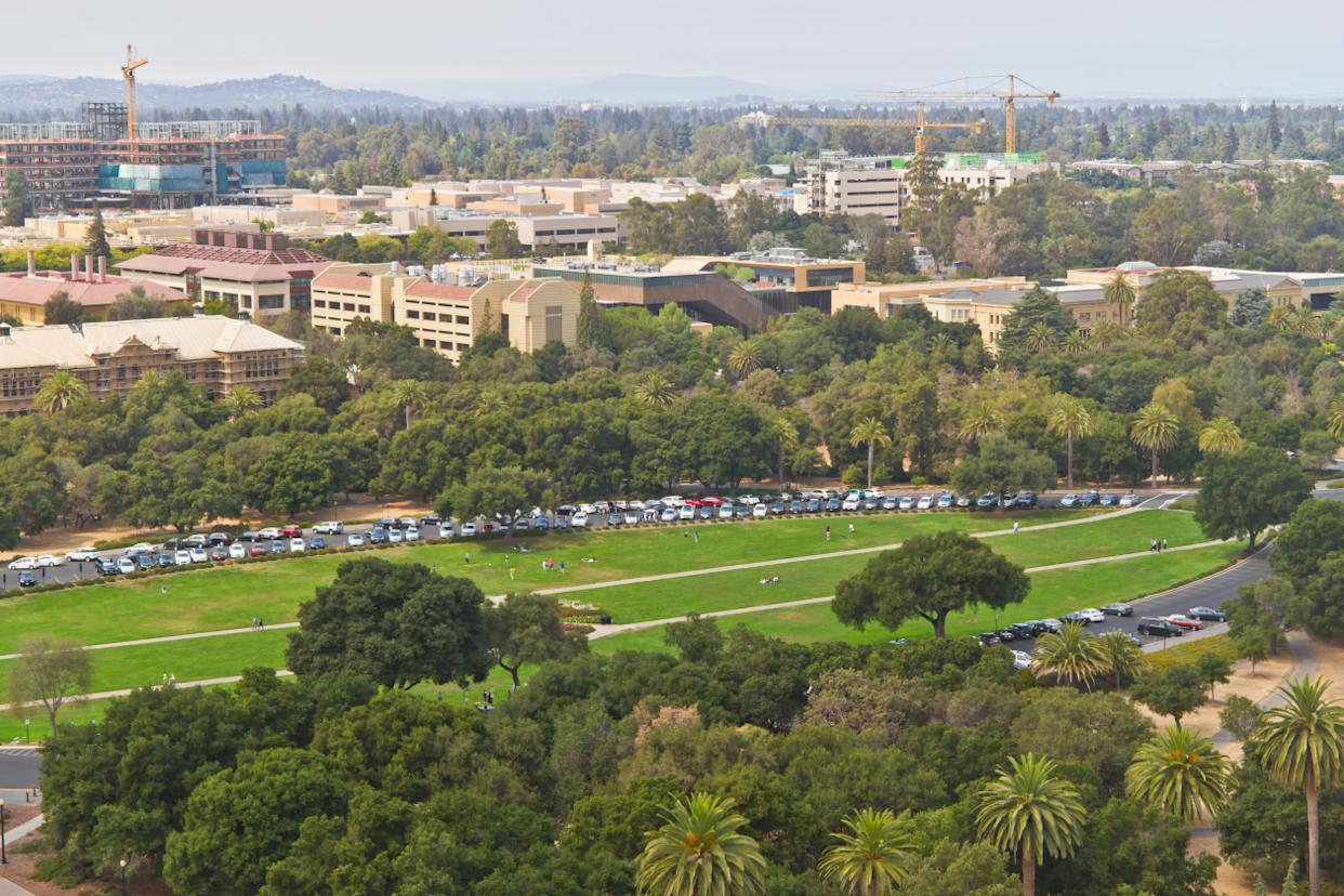 Stanford campus historical buildings and Palo Alto cityscape