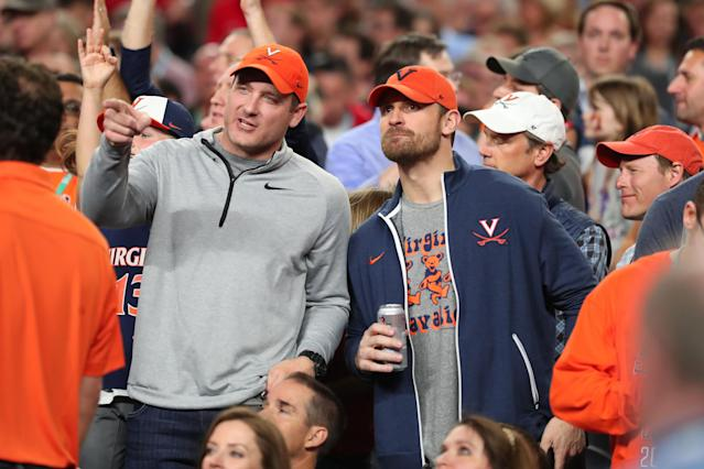 NFL player Chris long attends the the 2019 NCAA men's Final Four National Championship game between the Virginia Cavaliers and the Texas Tech Red Raiders at U.S. Bank Stadium on April 08, 2019 in Minneapolis, Minnesota. (Photo by Tom Pennington/Getty Images)