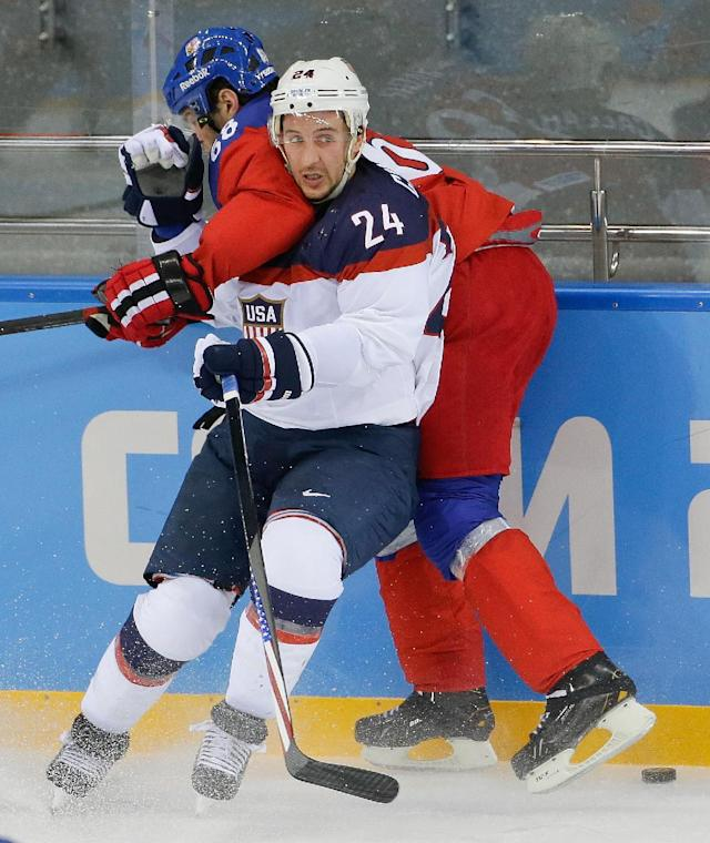 USA forward Ryan Callahan an dCzech Republic forward Jaromir Jagr battle against the boards for control of the puck during the second period of men's quarterfinal hockey game in Shayba Arena at the 2014 Winter Olympics, Wednesday, Feb. 19, 2014, in Sochi, Russia. (AP Photo/Matt Slocum)