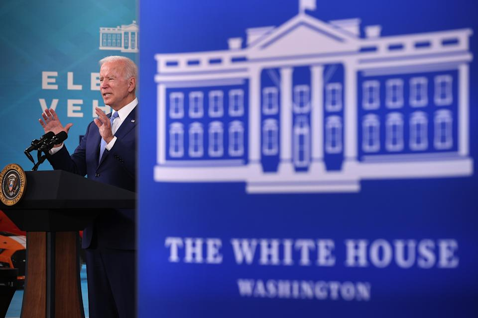 U.S. President Joe Biden delivers remarks on the September jobs numbers in the South Court Auditorium in the Eisenhower Executive Office Building on October 08, 2021 in Washington, DC. (Chip Somodevilla/Getty Images)