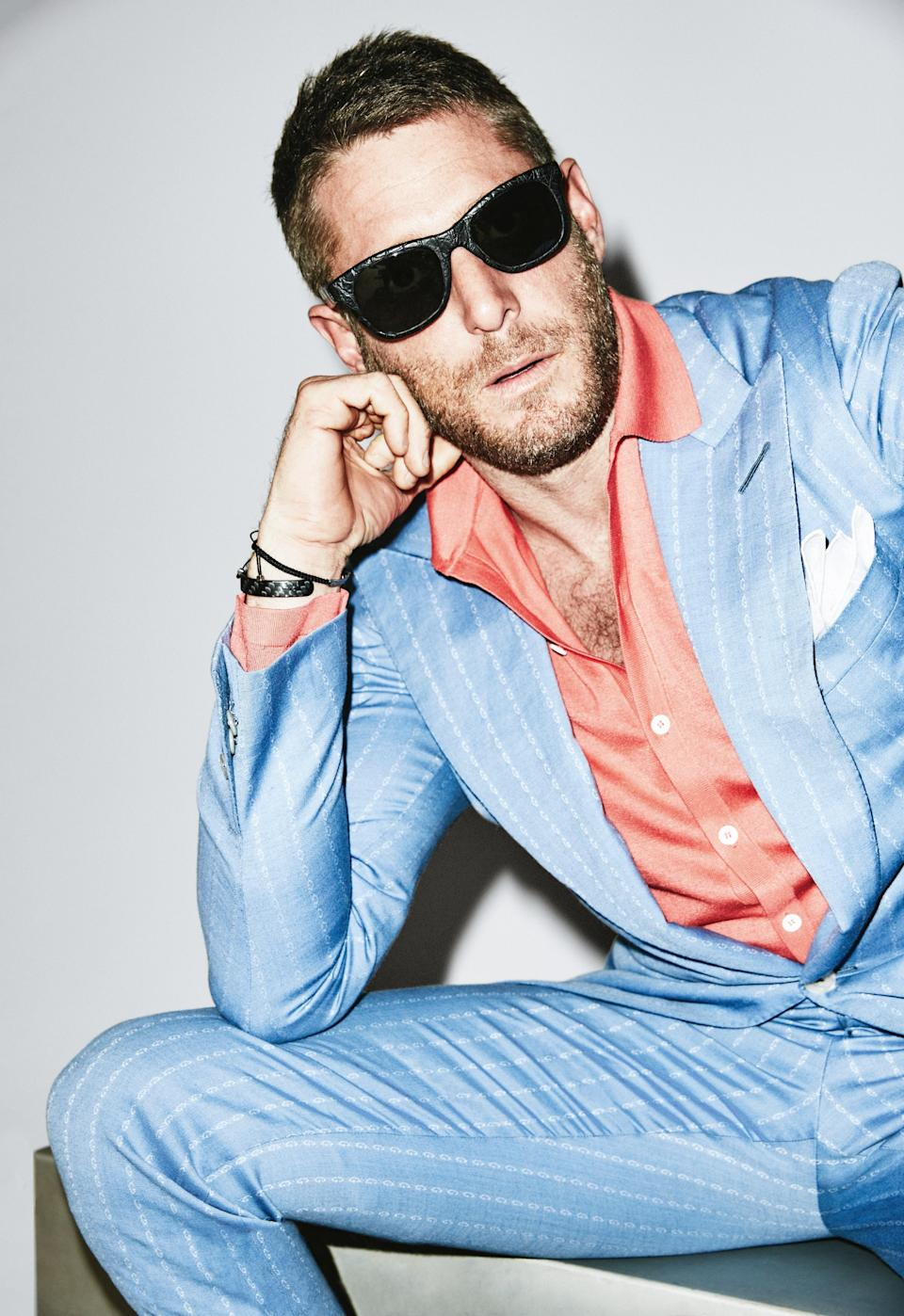 A blue suit that means business, but is miles away from navy.