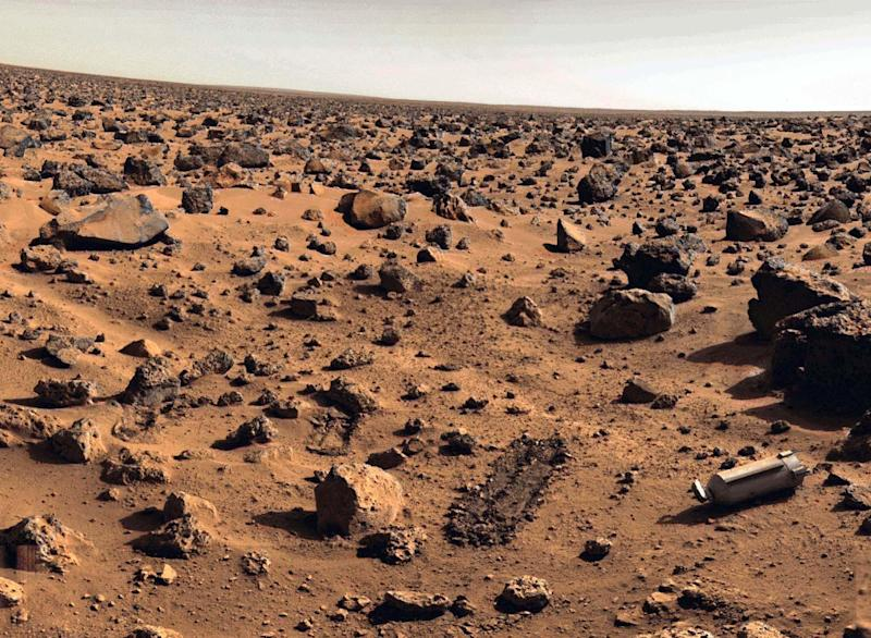 File photo taken on Mars approximately in September 1976 at Utopia Planitia by the US. Viking 2 unmanned spacecraft