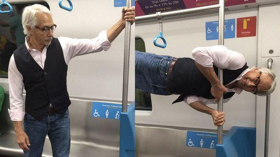 Fit grandpa offered a subway seat turns it down with ...
