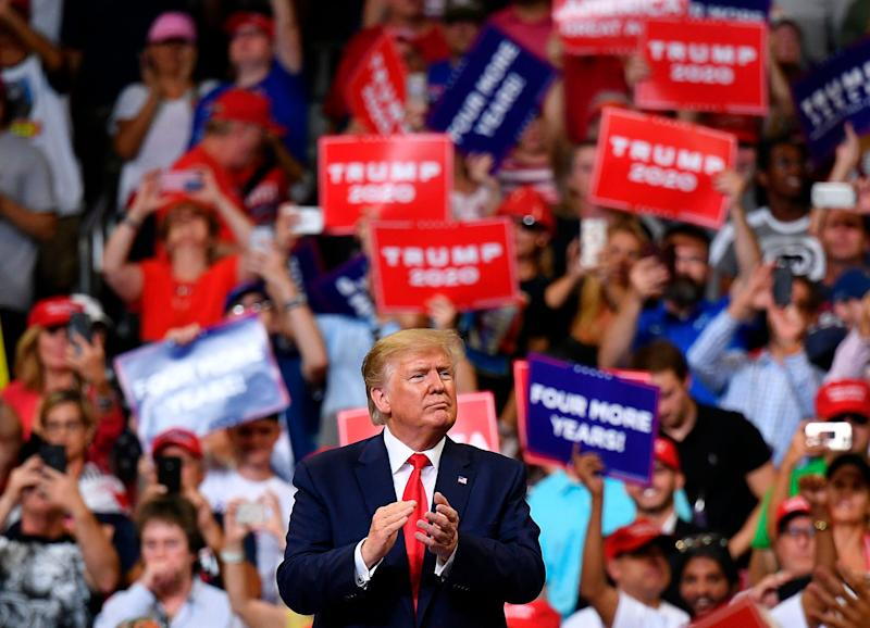 President Donald Trump gestures after a rally at the Amway Center in Orlando, Florida to officially launch his 2020 campaign on June 18, 2019.