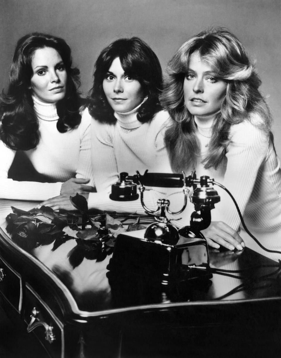 """<p>The original """"Charlie's Angels"""" trio from the '70s helped bring action-hero sexy to television. The angels, which initially starred Kate Jackson, Farrah Fawcett-Majors, and Jaclyn Smith, fought crime together and occasionally rolled their eyes at their male boss. <i>(Source: Everett Collection)</i></p>"""