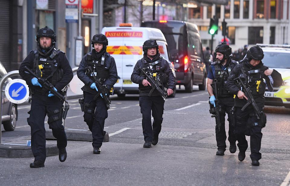 Police on Cannon Street in London near the scene of an incident on London Bridge in central London.