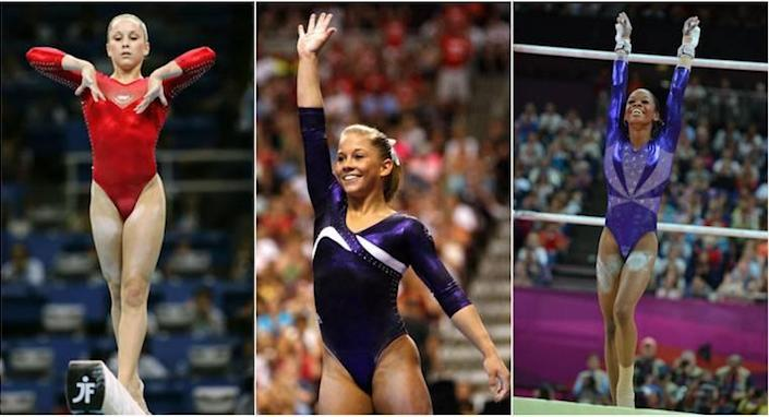 Left to right: Carly Patterson, 2004, Shawn Johnson, 2008 and Gabby Douglas, 2012.