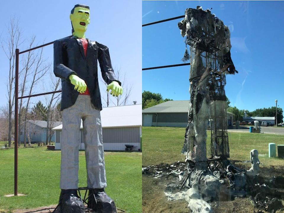 Neighbour charged with torching 20-foot tall Frankenstein statue worth $14,000 (Mark and Vicki Borneke)