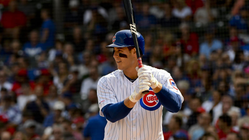Chicago Cubs' Anthony Rizzo (44) bats during the first inning of a baseball game against the St. Louis Cardinals Friday, Sept. 20, 2019, in Chicago. (AP Photo/Matt Marton)