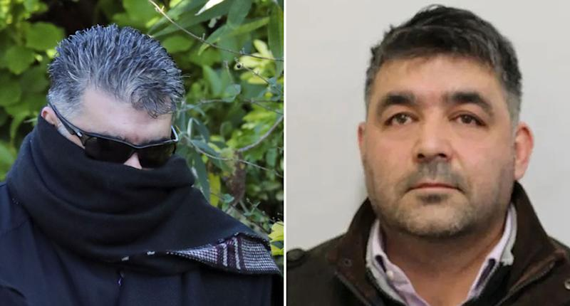 Temur Shah, 45, arrives at court with his face covered. He's also pictured in a police mugshot.