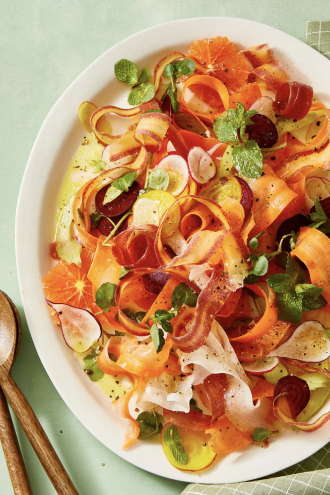"""<p>Who says salads need lettuce? The carrot ribbons and thinly sliced radishes in this recipe are an amazing and unexpected substitute.</p><p><em><a href=""""https://www.goodhousekeeping.com/food-recipes/healthy/a30729726/shaved-carrot-salad-recipe/"""" rel=""""nofollow noopener"""" target=""""_blank"""" data-ylk=""""slk:Get the recipe for Shaved Carrot and Radish Salad »"""" class=""""link rapid-noclick-resp"""">Get the recipe for Shaved Carrot and Radish Salad »</a></em></p>"""
