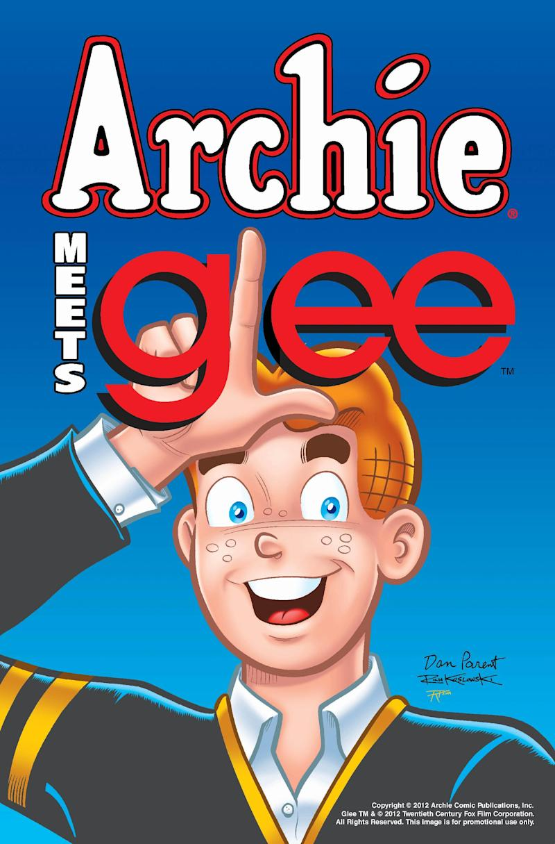 """An undated image provided by  Archie Comic Publications Inc., shows cover art for a comic featuring characters from Archie and characters from tleh television program """"Glee.""""  Co-chief executive Jon Goldwater said Monday, Monday July 9, 2012,  the crossover is set for later this year or early 2013 and will encompass four issues in the ongoing """"Archie"""" title.  (AP Photo/Archie Comic Publications Inc.) NO SALES"""