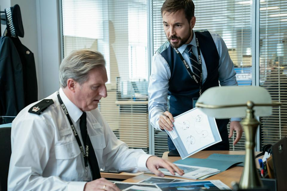 WARNING: Embargoed for publication until 00:00:01 on 16/03/2021 - Programme Name: Line of Duty S6 - TX: n/a - Episode: Line Of Duty - Ep 1 (No. n/a) - Picture Shows: *NOT FOR PUBLICATION UNTIL 00:01HRS, TUESDAY 16TH MARCH, 2021* Superintendent Ted Hastings (ADRIAN DUNBAR), DS Steve Arnott (MARTIN COMPSTON) - (C) World Productions - Photographer: Steffan Hill