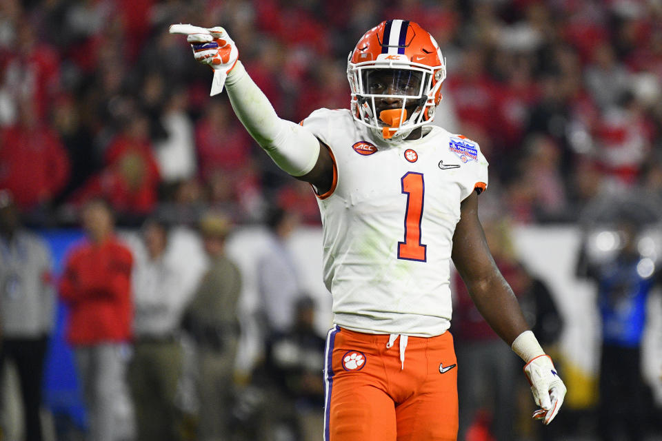 GLENDALE, AZ - DECEMBER 28: Clemson Tigers cornerback Derion Kendrick (1) points to the Ohio State side during the 2019 PlayStation Fiesta Bowl college football playoff semifinal game between the Ohio State Buckeyes and the Clemson Tigers on December 28, 2019 at State Farm Stadium in Glendale, AZ. (Photo by Brian Rothmuller/Icon Sportswire via Getty Images)