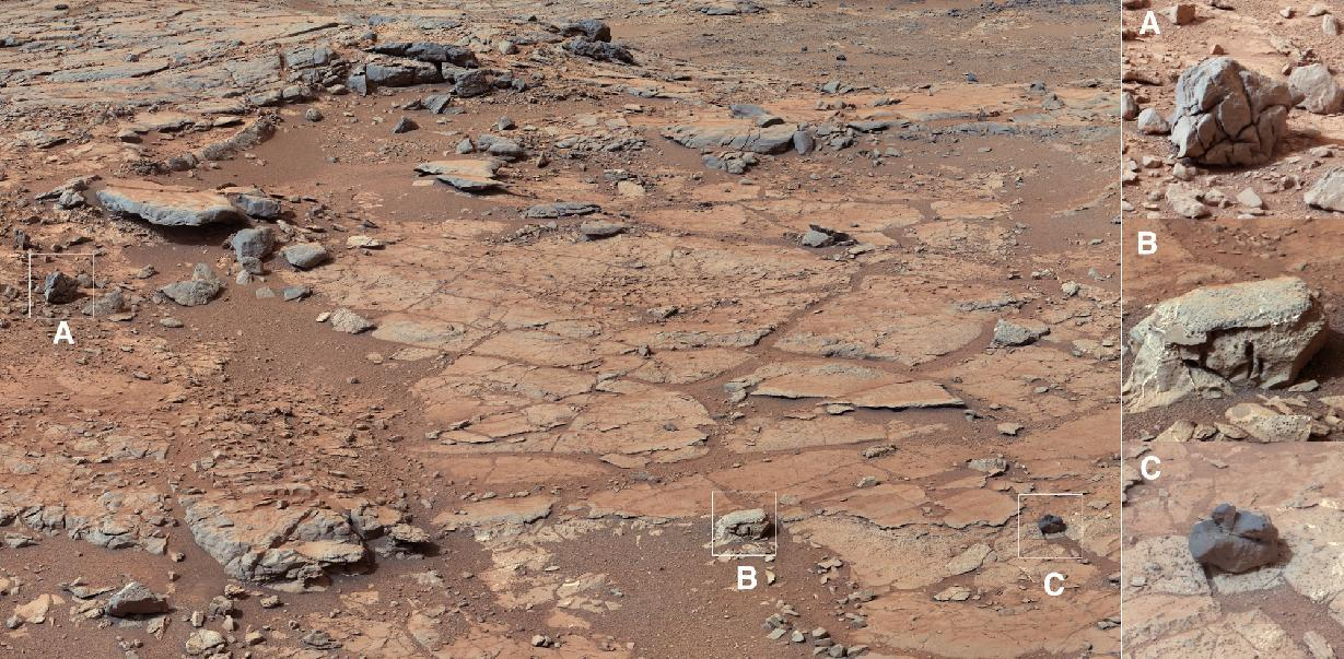 This image released by NASA shows the view of Curiosity's planned first drilling site. The six-wheel, nuclear-powered rover landed five months ago on a mission to study whether Mars was habitable. Engineers are preparing Curiosity to drill into its first Martian rock. The enlargements of rocks seen on the right, and denoted by letters and boxes within the left image, represent this diversity. Each box is about 9 inches (22 centimeters) square. (AP Photo/NASA)