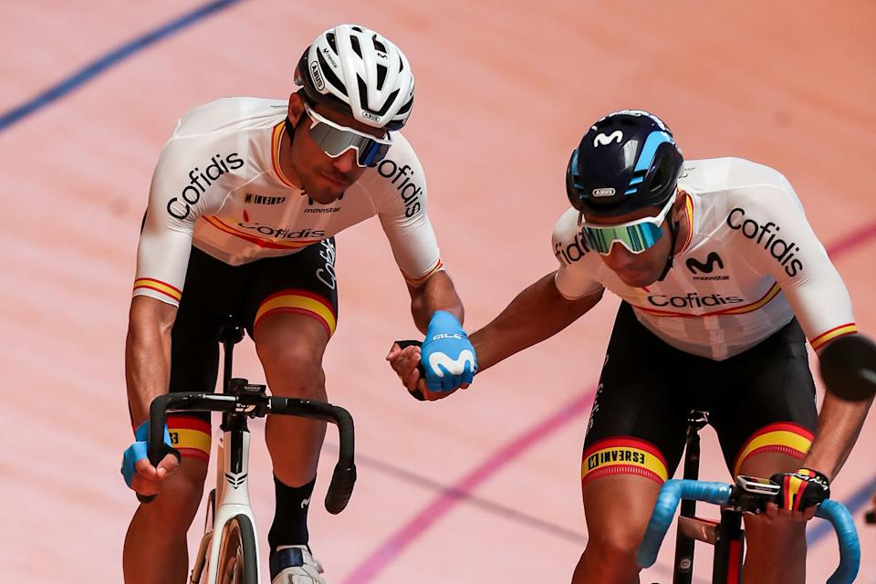 VALENCIA, SPAIN - JUNE 29: Albert Torres and Sebastian Mora of the Spanish track cycling team in action during the presentation of the Spanish Track Team for Tokyo 2020 at the Luis Puig Velodrome on june 29, 2021, in Valencia, Spain. (Photo by Ivan Terron / Europa Press Sports via Getty Images)