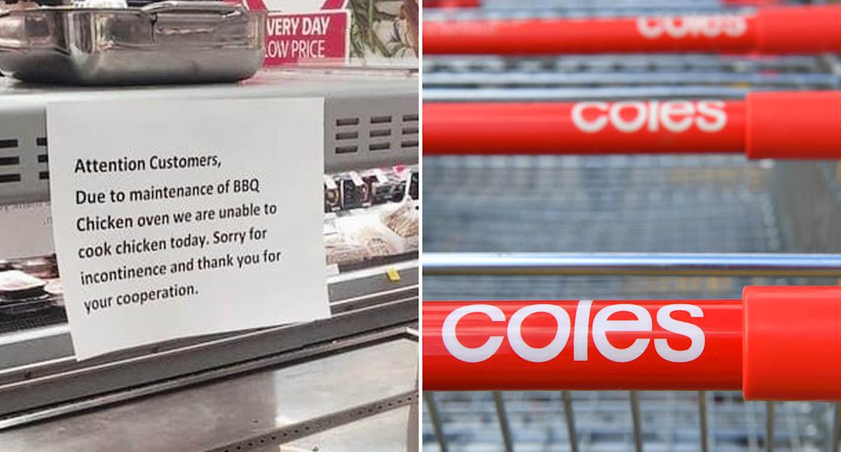 Coles worker's hilarious error in note to shoppers: 'Almost wet myself'