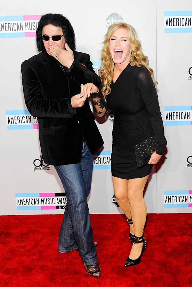 Newlyweds Gene Simmons and Shannon Tweed arrive at the 2011 American Music Awards held at the Nokia Theatre L.A. LIVE. (11/20/2011)