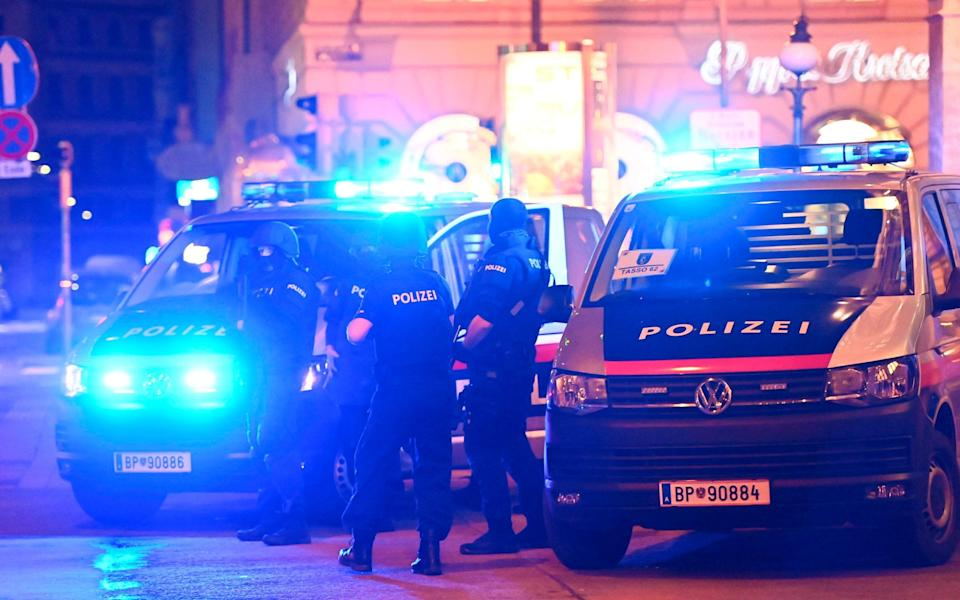 Police cars and policemen in central Vienna after the shooting - AFP