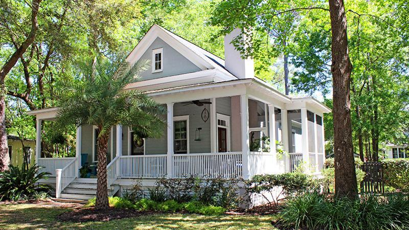 "<p>There's something about a wraparound front porch that just says ""Come on in!"" Equally reminiscent of Key West and the Lowcountry, this cottage charmer is the kind of laid-back retreat that needs no frills—it's classic, simple, and perfect in every way.</p> <p>2 bedrooms/ 2 baths</p> <p>1,286 square feet</p> <p><strong>See plan:</strong> <a href=""http://houseplans.southernliving.com/plans/SL1254"" rel=""nofollow noopener"" target=""_blank"" data-ylk=""slk:Banning Court"" class=""link rapid-noclick-resp"">Banning Court</a></p>"