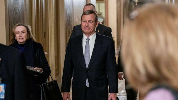 PHOTO: Supreme Court Chief Justice John Roberts leaves the Capitol building after the Senate impeachment trial of President Donald Trump was adjourned for the day, Jan. 27, 2020.  (Samuel Corum/Getty Images)