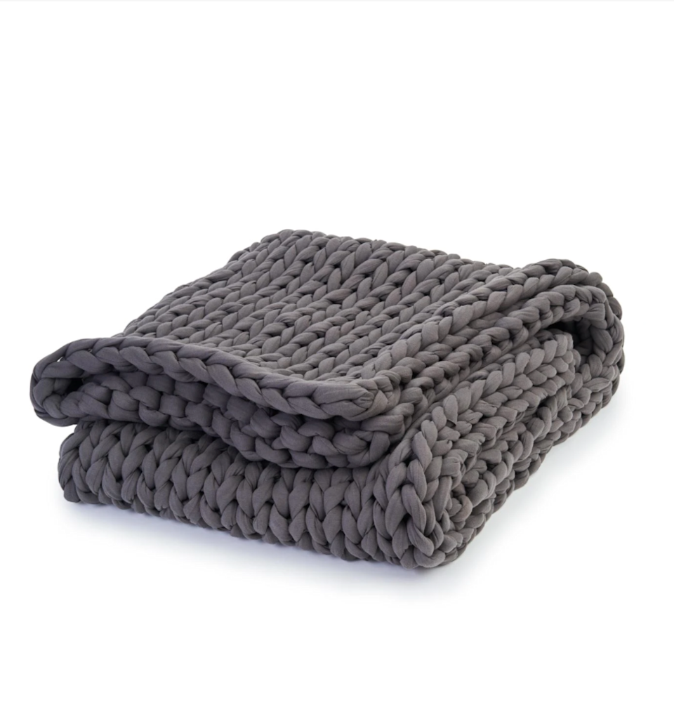 """<h3>Bearaby Cotton Napper Weighted Blanket</h3><br><strong>What it is: </strong>A 15lb weighted blanket. <br><br><strong>What it's supposed to do: </strong>According to Bearaby, weighted blankets have been medically proven to promote naturally deeper sleep cycles. The weight on your body helps to stimulate the production of serotonin, reduces cortisol (the stress hormone), and increases melatonin. This particular blanket is handknit, made from breathable organic cotton, and comes in three weights. FYI: your blanket should be roughly 10% of your body weight. <br><br><em>Shop </em><a href=""""https://bearaby.com/"""" rel=""""nofollow noopener"""" target=""""_blank"""" data-ylk=""""slk:Bearaby"""" class=""""link rapid-noclick-resp""""><em><strong>Bearaby</strong></em></a><br><br><strong>Bearaby</strong> The Napper (15lbs), $, available at <a href=""""https://go.skimresources.com/?id=30283X879131&url=https%3A%2F%2Fbearaby.com%2Fproducts%2Fthe-napper"""" rel=""""nofollow noopener"""" target=""""_blank"""" data-ylk=""""slk:Bearaby"""" class=""""link rapid-noclick-resp"""">Bearaby</a>"""