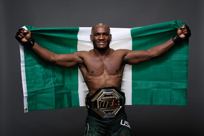 LAS VEGAS, NV - MARCH 02: Kamaru Usman of Nigeria poses for a portrait backstage during the UFC 235 event at T-Mobile Arena on March 2, 2019 in Las Vegas, Nevada. (Photo by Mike Roach/Zuffa LLC/Zuffa LLC)