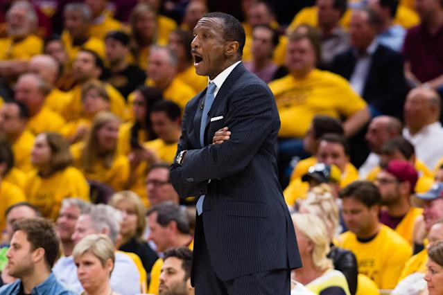 "Dwane Casey may wind up taking the fall for the Raptors' third straight postseason exit at the hands of <a class=""link rapid-noclick-resp"" href=""/nba/players/3704/"" data-ylk=""slk:LeBron James"">LeBron James</a> and the Cavaliers. (Getty)"