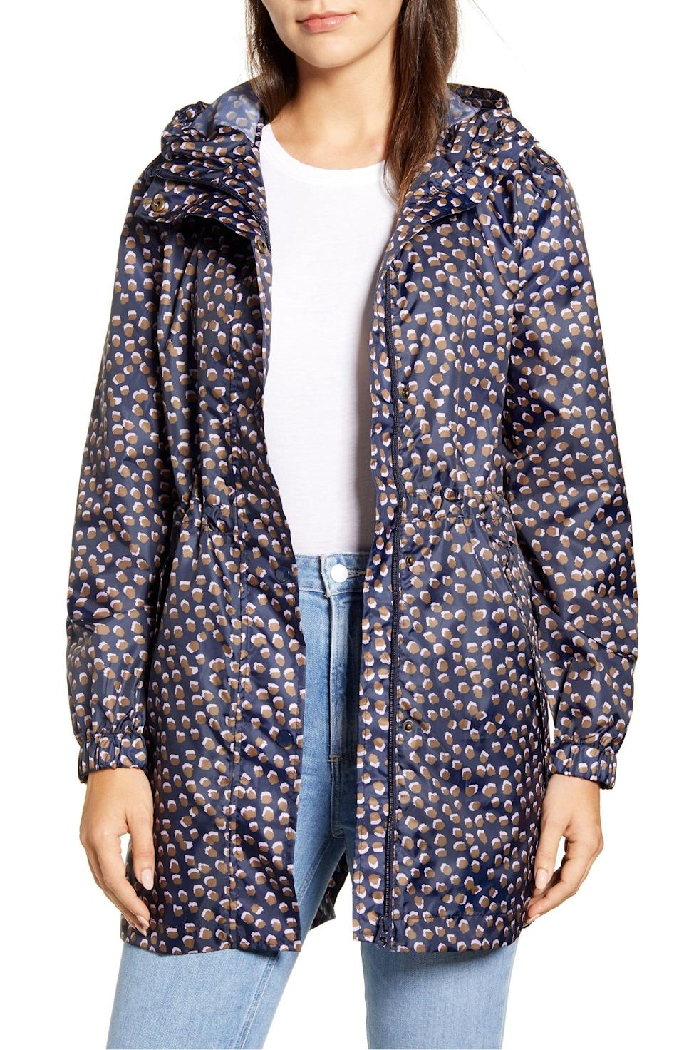 """<p><strong>JOULES</strong></p><p>nordstrom.com</p><p><strong>$47.96</strong></p><p><a href=""""https://go.redirectingat.com?id=74968X1596630&url=https%3A%2F%2Fshop.nordstrom.com%2Fs%2Fjoules-packable-waterproof-rain-jacket%2F5634118&sref=https%3A%2F%2Fwww.cosmopolitan.com%2Fstyle-beauty%2Ffashion%2Fg33523619%2Fbest-raincoats%2F"""" rel=""""nofollow noopener"""" target=""""_blank"""" data-ylk=""""slk:Shop Now"""" class=""""link rapid-noclick-resp"""">Shop Now</a></p><p>Some styles can be a bit shapeless, but one with a drawstring waist will keep it snug against you. This printed Joules style has more than 50 reviews and an almost perfect 5-star rating. </p>"""