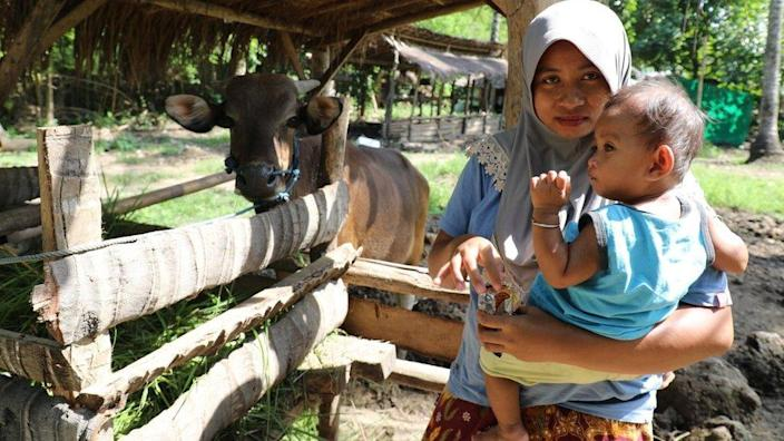 Endang Kurniati resident of Kuta village who's still holding out in April