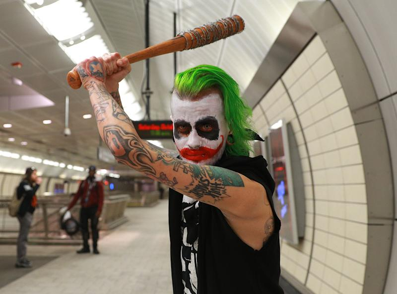 Danny from Brooklyn dressed as the Joker heads to the New York Comic Con 2019 at Jacob Javits Center on Oct. 5, 2019 in New York City. (Photo: Gordon Donovan/Yahoo News)
