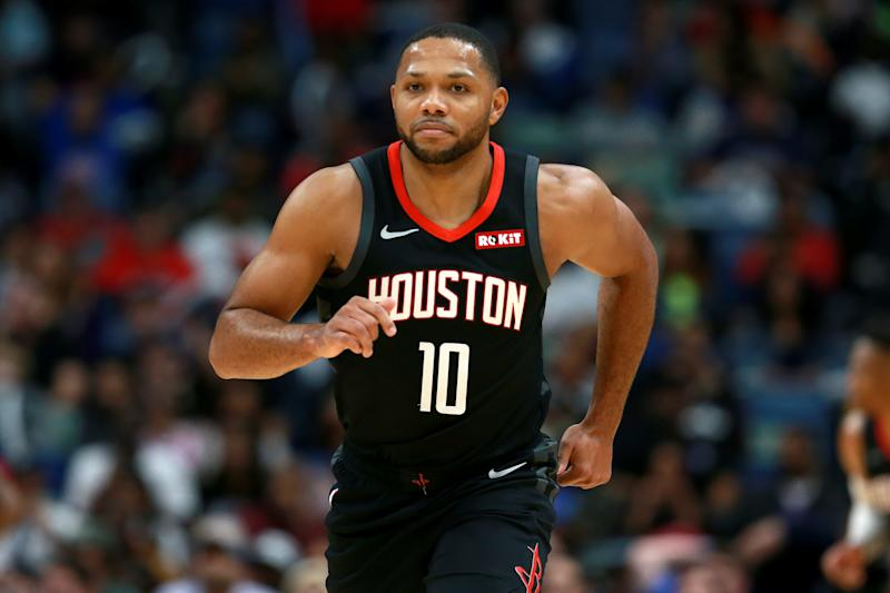 After missing 22 games recovering from a minor knee surgery, Eric Gordon will take the floor on Sunday night against the Pelicans. (Sean Gardner/Getty Images)