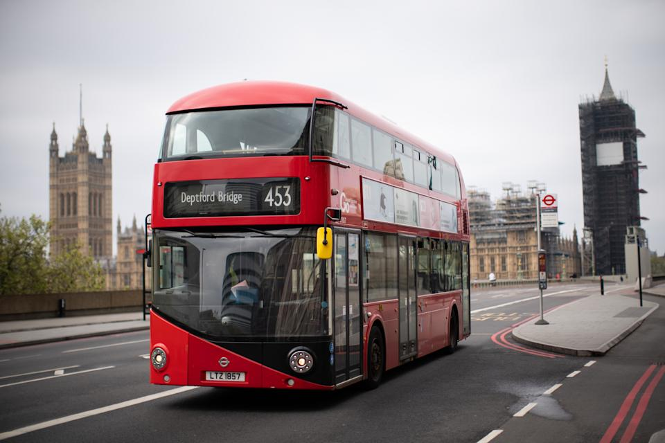 A London bus is seen in Westminster as from Monday 20th April TfL introduces middle-door only boarding across the London bus network. (Photo by Aaron Chown/PA Images via Getty Images)