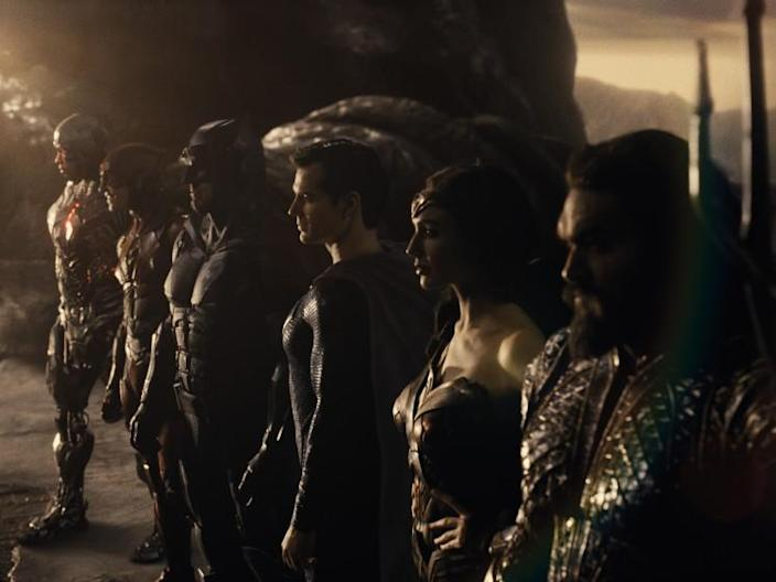 """Ray Fisher, Ezra Miller, Ben Affleck, Henry Cavill, Gal Gadot and Jason Momoa in the movie """"Zack Snyder's Justice League."""""""