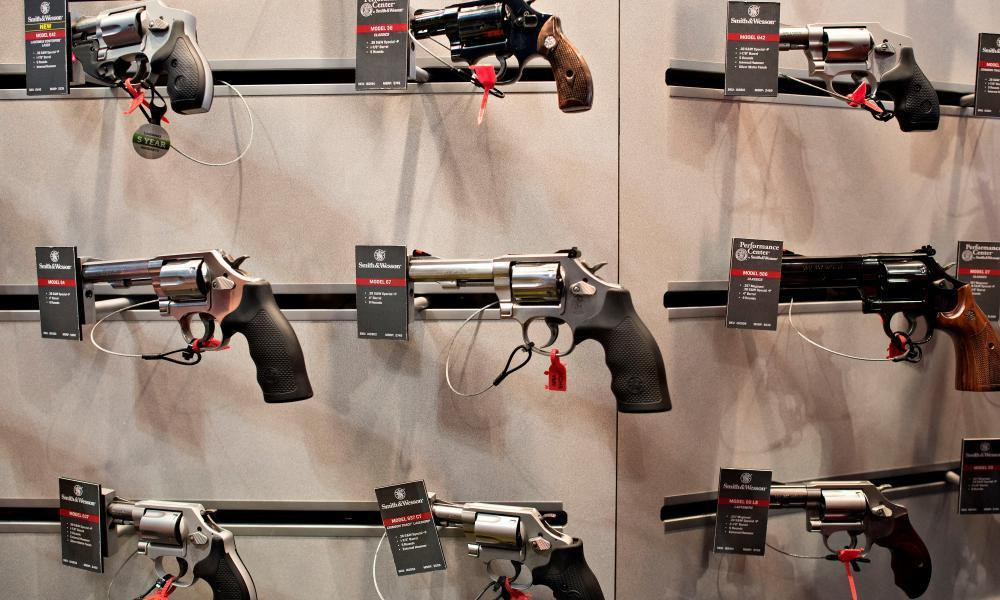 """<span class=""""element-image__caption"""">Smith & Wesson revolvers are on display at the 144th National Rifle Association (NRA) meeting and exhibits in Nashville, Tennessee. on April 2015.</span> <span class=""""element-image__credit"""">Photograph: Bloomberg/Bloomberg via Getty Images</span>"""