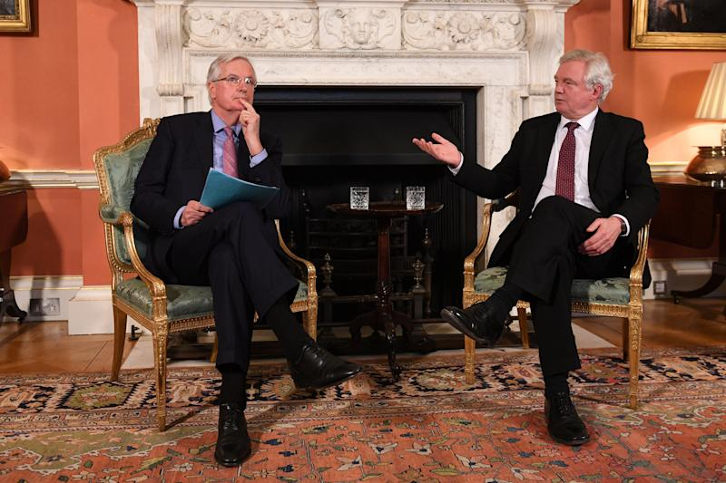 David Davis and the European Union's chief Brexit negotiator Michel Barnier speak inside 10 Downing Street, London February 5 (POOL New / Reuters)