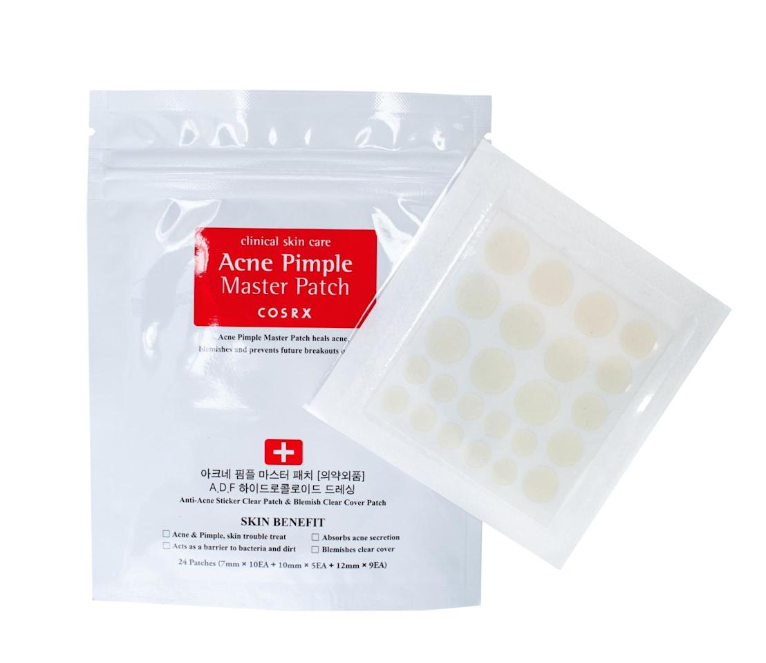 """<p>Acne Pimple Master Patch by Cosrx, $5 for 24 patches, <a rel=""""nofollow"""" href=""""https://sokoglam.com/products/cosrx-acne-pimple-master-patch""""><u>sokoglam.com</u></a>.<span></span></p>"""