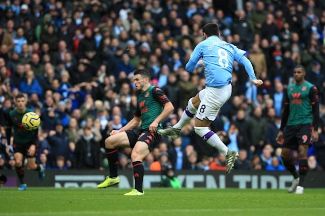 Gundogan showed his quality by scoring the third with a scissor kick. (Photo by Tom Flathers/Manchester City FC via Getty Images)