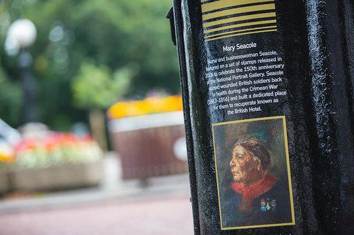 Mary Seacole, a Jamaican-born nurse who cared for wounded British soldiers during the Crimean War, features on the Cardiff postboxPA