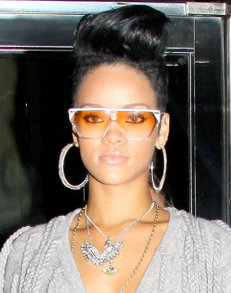 """Is it just us, or is Rihanna's hairdo a hot mess? That pompadour isn't doing her justice ... and neither are those tacky tinted shades! D/<a href=""""http://www.x17online.com"""" target=""""new"""">X17 Online</a> - June 10, 2009"""